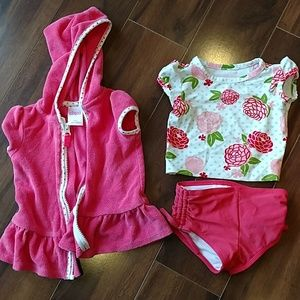Baby Girl 6-9mo Swim Suit & cover-up